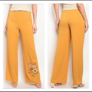 🛍Sale🛍 Mustard Floral Embroidery Bell Bottoms